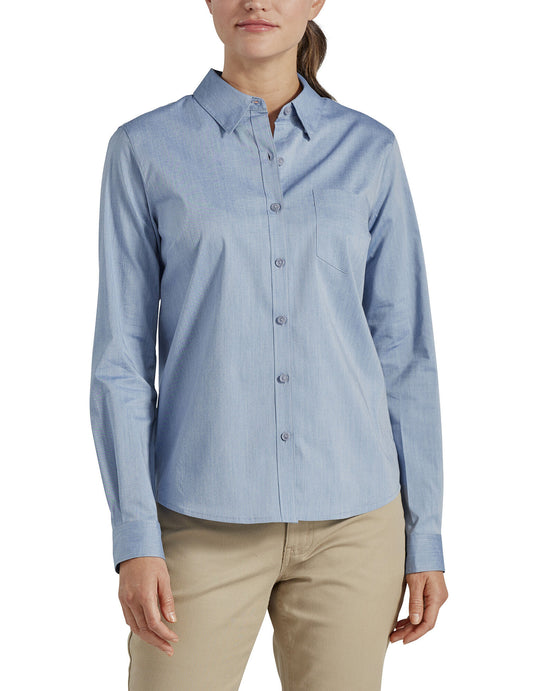 Dickies Womens Long Sleeve Poplin Stretch Work Shirt