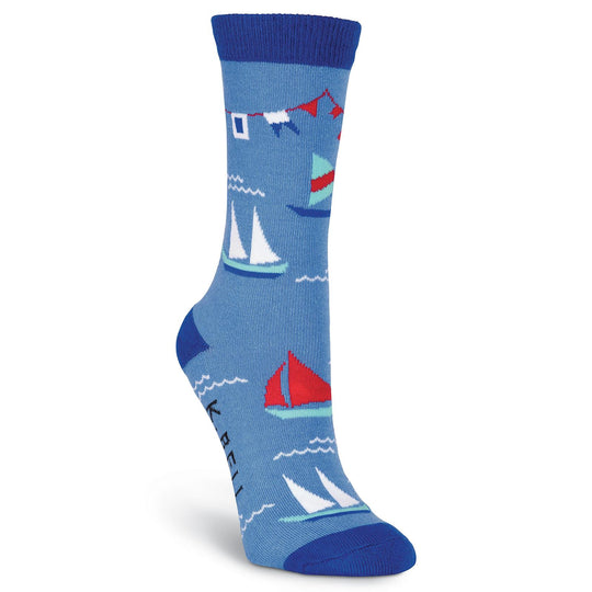 K. Bell Womens Nautical Flags Crew Socks - American Made