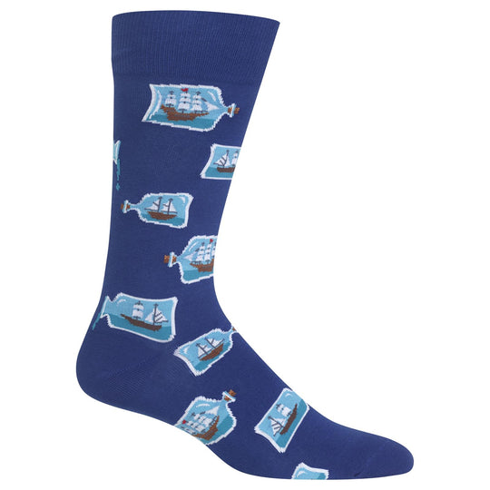Hot Sox Mens Ships in a Bottle Crew Socks