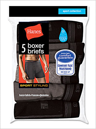 Hanes Sport Boxer Brief with Comfort Flex Waistband 5-Pack