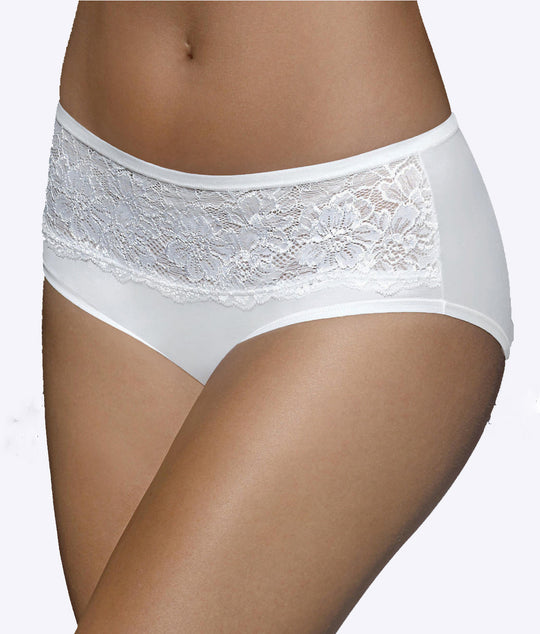 Bali Women's Comfort Indulgence Satin with Lace Modern Hipster