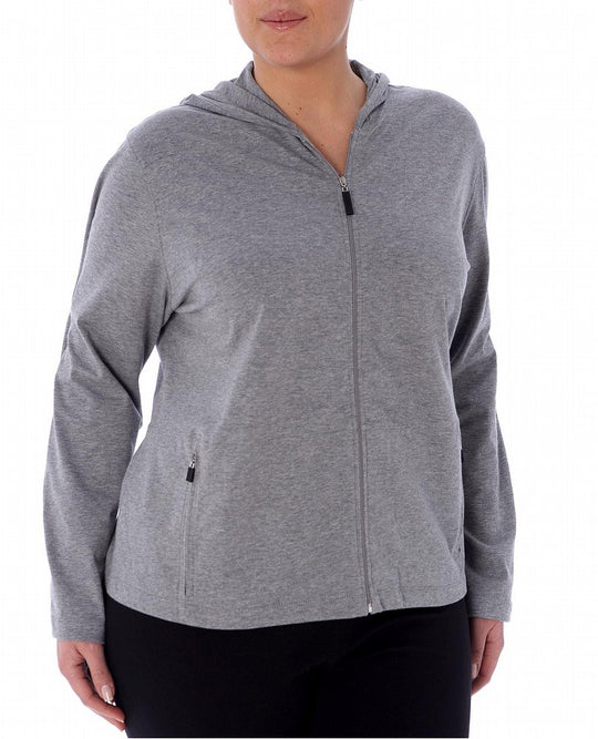 Danskin Women's Active Plus Cotton Stretch Zip Hoodie