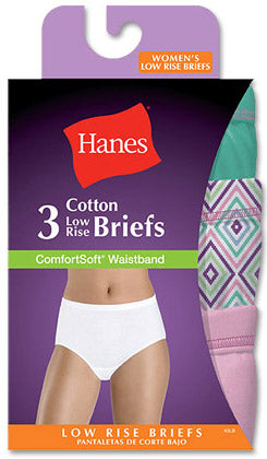 Hanes Comfort Soft Low Rise Brief 3 Pack Assorted colors