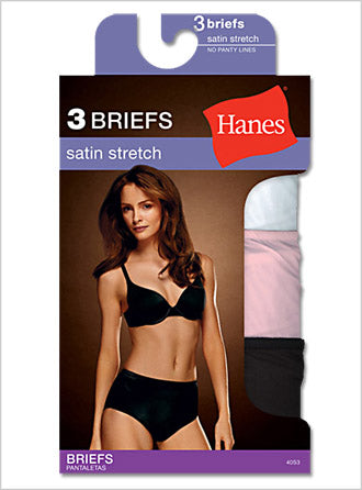 Hanes Women's Body Creations ComfortSoft Stretch Nylon Satin Briefs 3 Pack