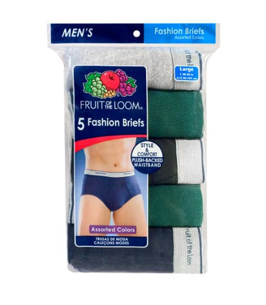 Fruit of the Loom Men`s 5-Pack Assorted Fashion Briefs - X-Sizes