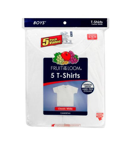 Fruit of the Loom Boys` 5pk White Crew
