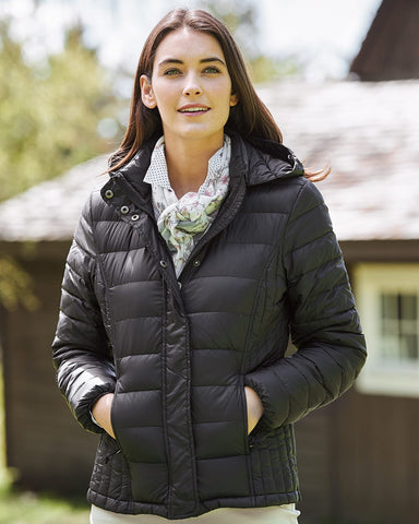 Weatherproof Womens 32 Degrees Hooded Packable Down Jacket 17602W, XL, Black