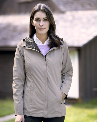 Weatherproof Womens 32 Degrees Mélange Rain Jacket 17604W, XL, Black Melange