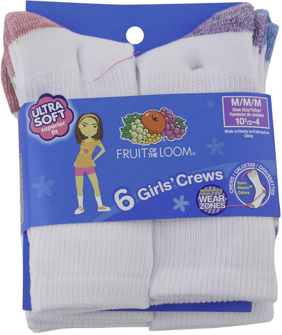 Fruit of the Loom Girls Everyday Basic 6 Pack Athletic Crew Socks