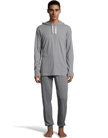 Hanes Mens 1901 Heritage Striped Hoodie with Jogger Pant Set