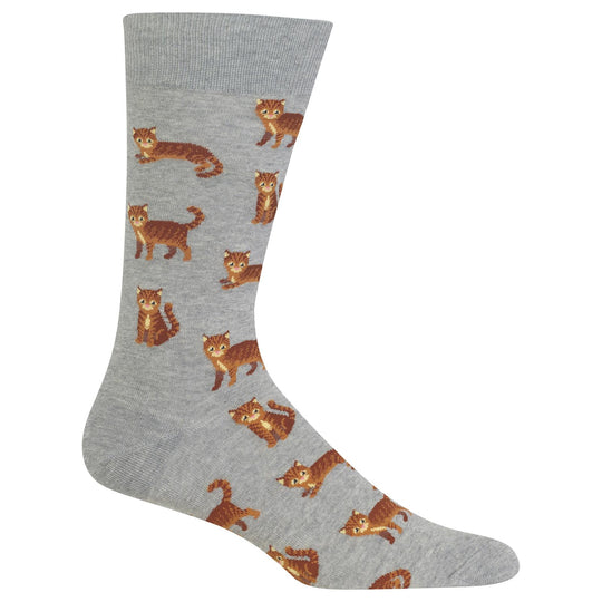 Hot Sox Mens Cat Crew Socks