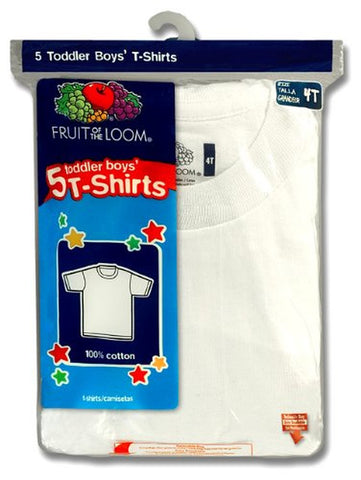 Fruit of the Loom Toddler Boys` 5pk White Crew