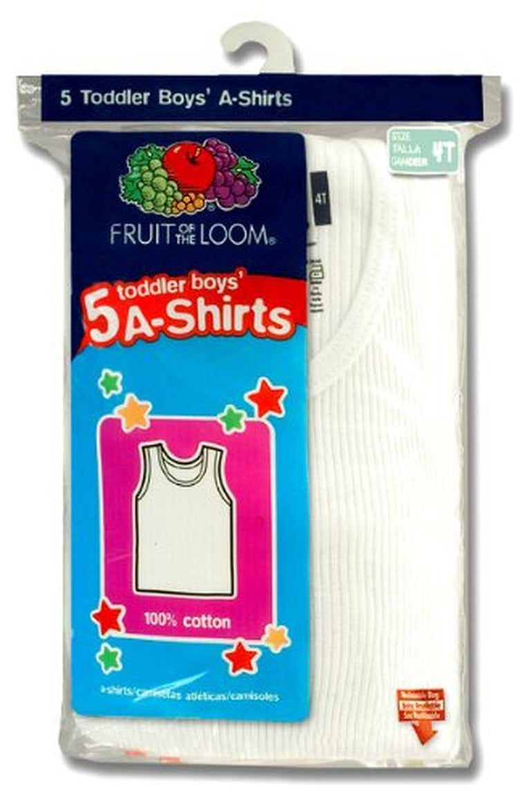 Fruit of the Loom Toddler Boys` 5-Pack White A-Shirt