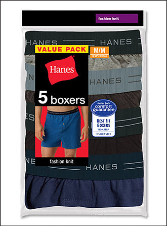 Hanes Men's Knit Boxer With Comfort Flex Waistband 5-Pack