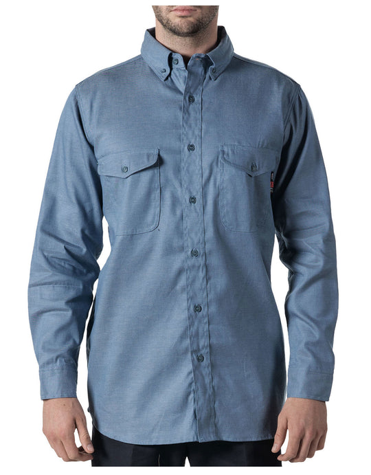 Walls Mens Flame Resistant Button-Down Chambray Work Shirt