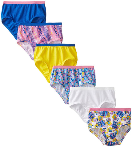 Fruit of the Loom Girls 6 Pack Assorted Cotton Briefs