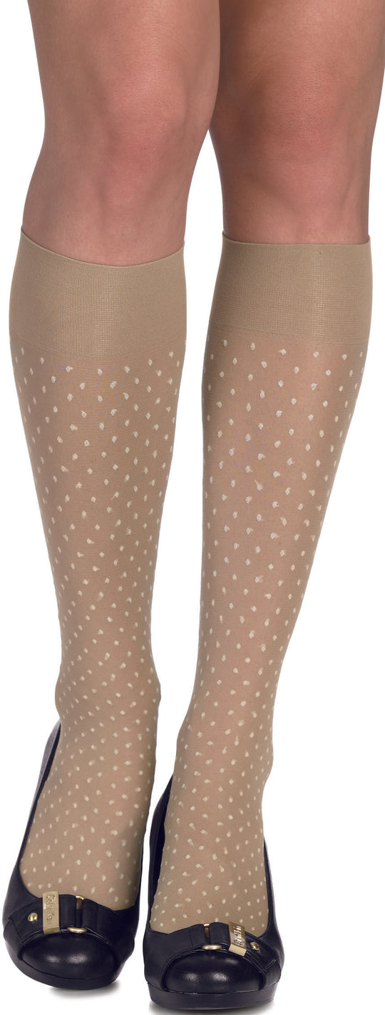 Hanes Silk Reflections Dot Kneehighs 1 Pair Pack