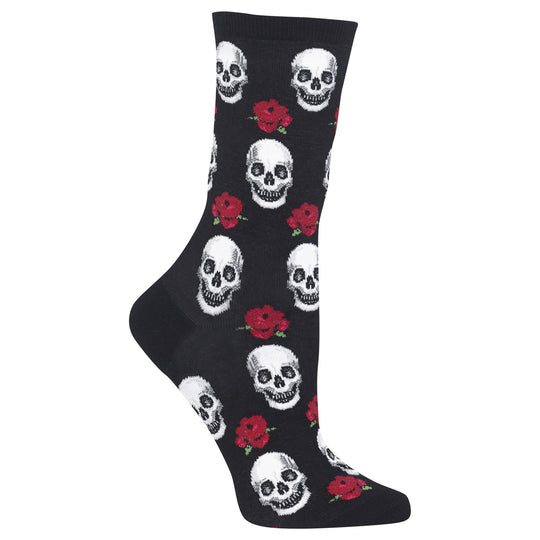 Hot Sox Womens Skull and Roses Crew Socks
