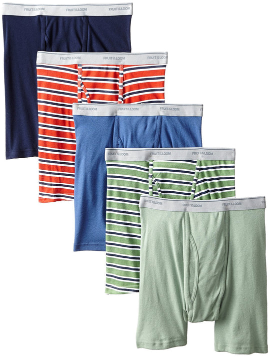Fruit of the Loom Men`s 5-Pack No Ride Up Stripe/Solid Boxer Briefs