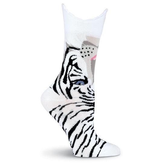 K. Bell Womens Wide Mouth Tiger Crew Socks