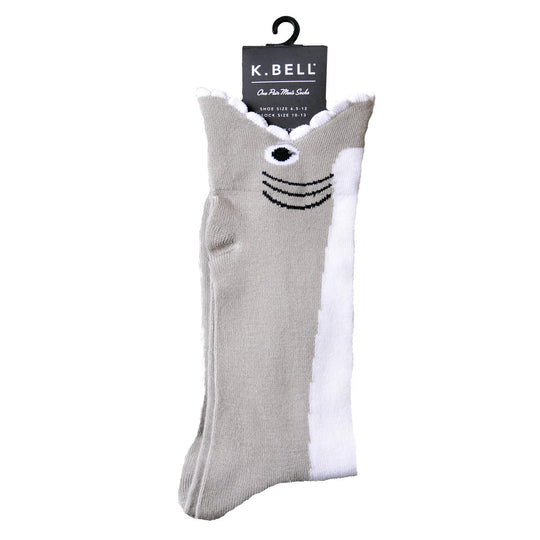 K. Bell Men`s Wide Mouth Shark Crew Socks
