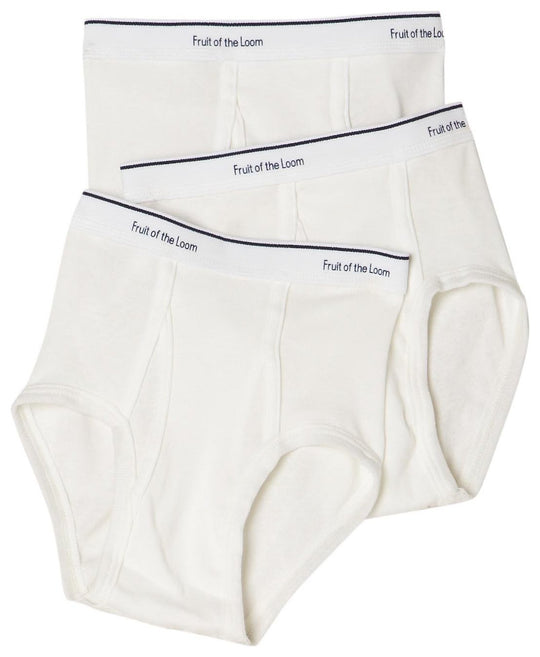 Fruit Of The Loom Boys` 3-Pack Full Cut Cotton White Briefs