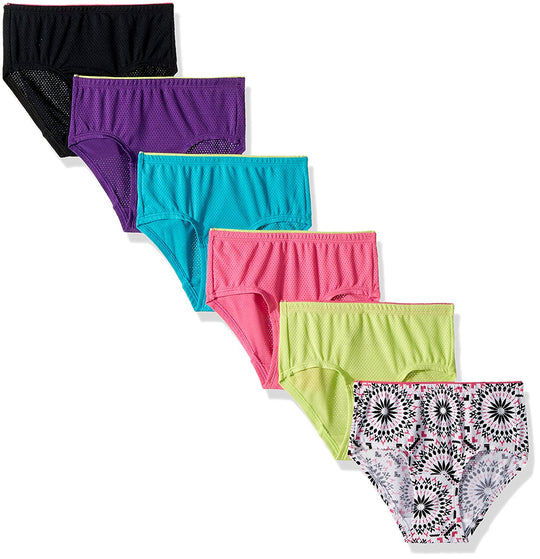 Fruit of the Loom Girls Breathable 6-Pack Micro-Mesh Briefs