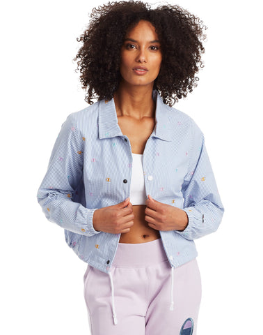 Champion Life Womens Seersucker Cropped Coaches Jacket, L, Frontier Blue