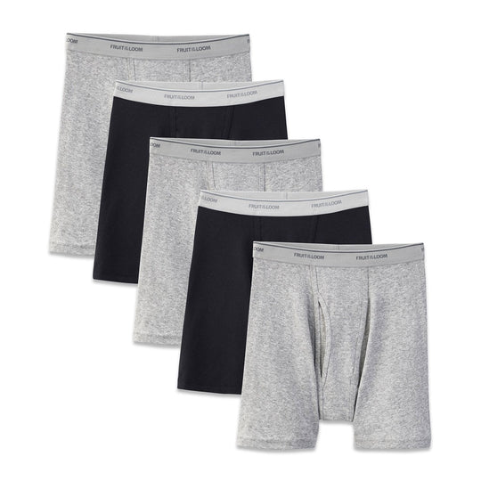 Fruit Of The Loom Mens Coolzone Black and Gray Boxer Briefs 3-Pack