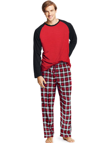 Hanes Men`s Jersey Flannel Sleep Set