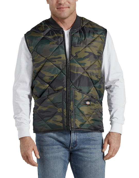 Dickies Mens Camo Diamond Quilted Nylon Vest