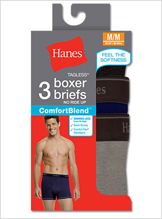 Hanes Men's TAGLESS ComfortBlend Boxer Brief with ComfortFlex Waistband 3-Pack