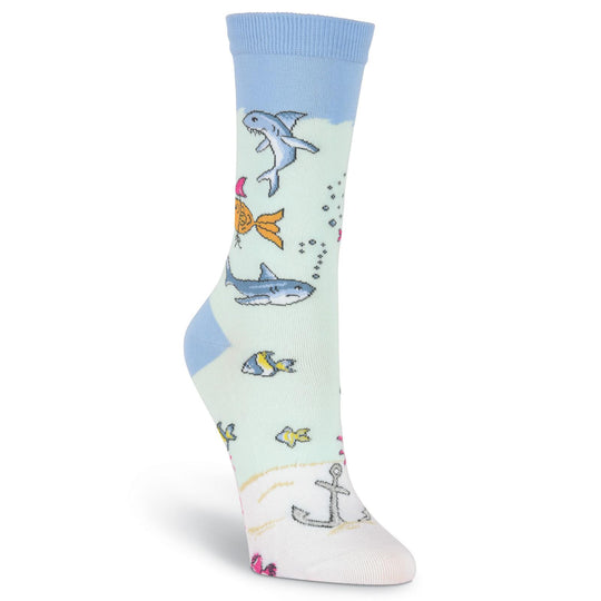 K. Bell Womens Attitude Fish Crew Socks