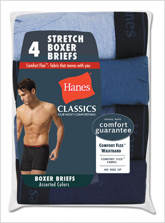 Hanes Classics Men's Stretch Boxer Briefs With Comfort Flex Waistband 4 Pack