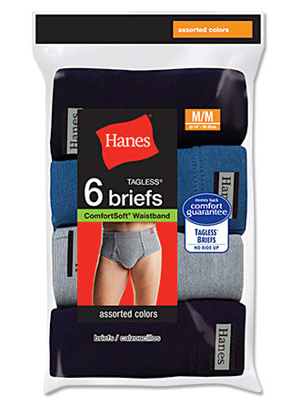 Hanes Men's TAGLESS Mid-Length Briefs with ComfortSoft Waistband 6-Pack