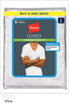 Hanes Classics Men's Traditional Fit ComfortSoft TAGLESS V-Neck Undershirt 6-Pack