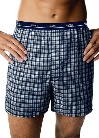 Hanes Classics Woven Yarn Dyed Boxers 4 Pack