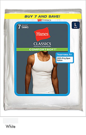 Hanes Classics Men's Traditional Fit ComfortSoft TAGLESS A-Shirt 7-Pack
