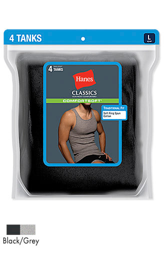 Hanes Classics Men's TAGLESS ComfortSoft Dyed A-Shirt 4-Pack