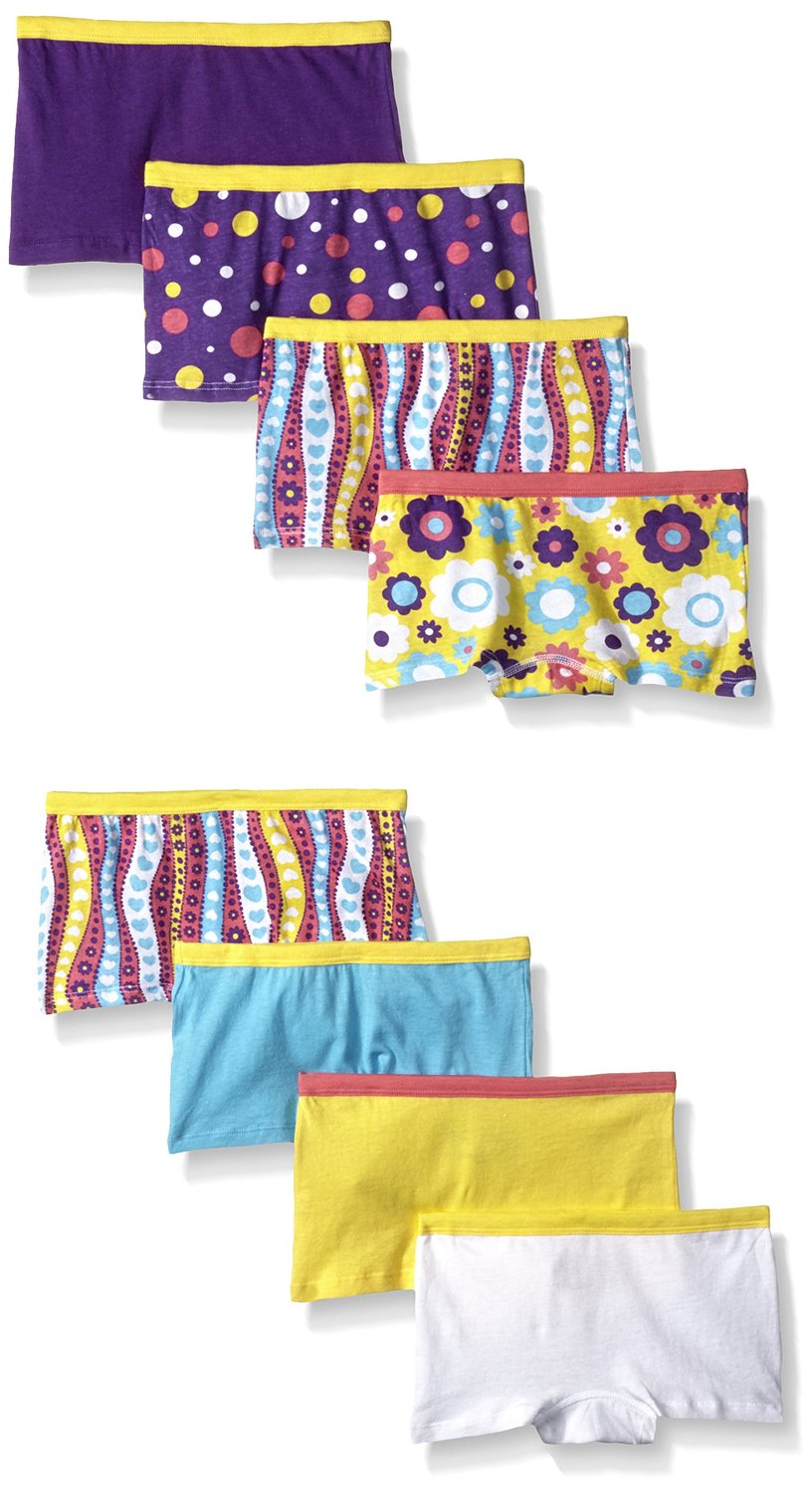 Fruit of the Loom Girls` 8-Pack Wardrobe Assorted Boy Short