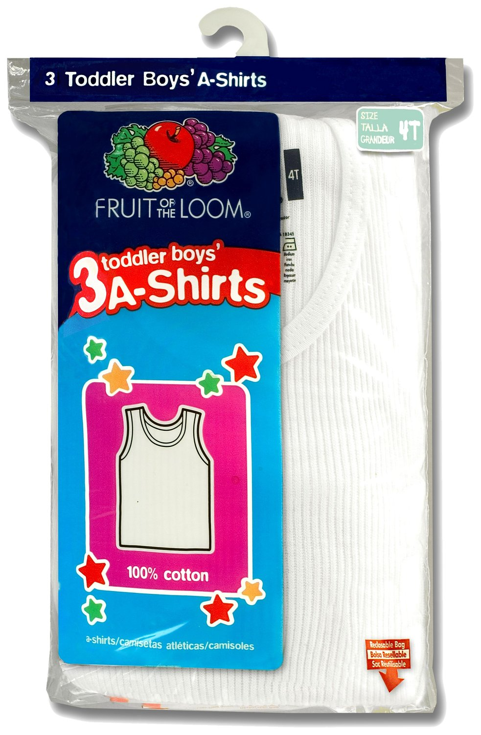 Fruit of the Loom Toddler Boys` 3-Pack White A-Shirt