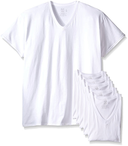 Fruit of the Loom Men`s 6-Pack White V-Neck T-Shirt