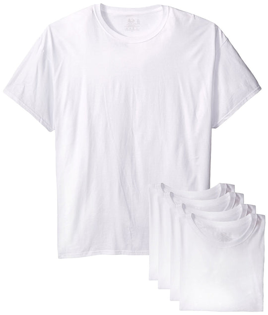 Fruit of the Loom Men`s 5-Pack White Crew T-Shirt - X-Sizes