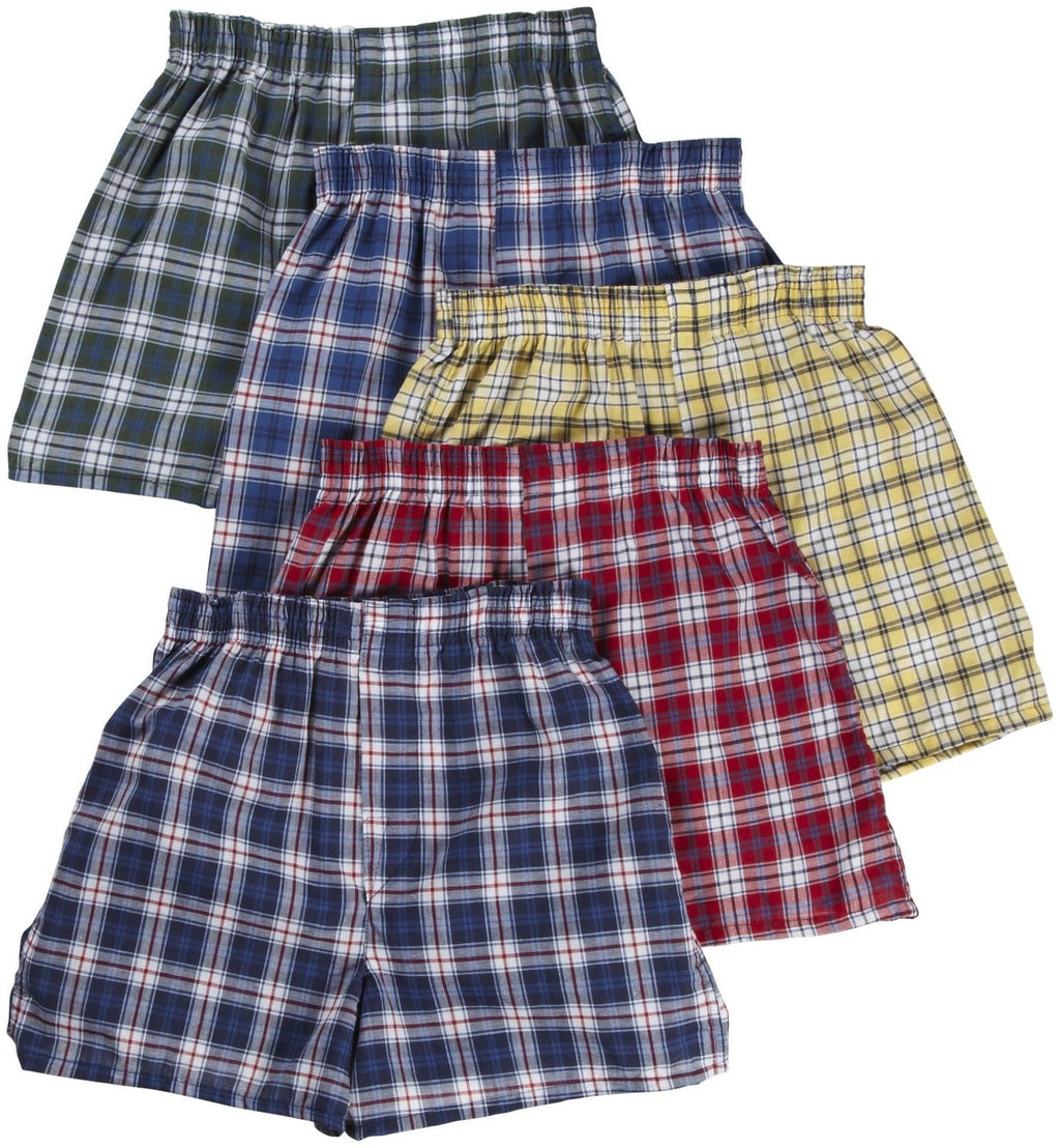 Fruit of the Loom Boys` 5pk Assorted Tartan Boxer