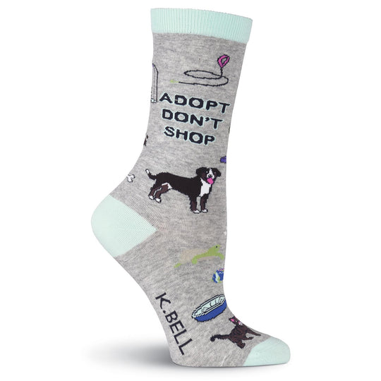 K. Bell Womens Adopt Dont Shop Crew Socks