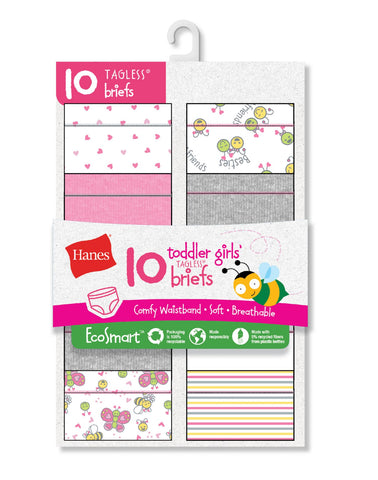 Hanes Toddler Girls EcoSmart Briefs 10-Pack
