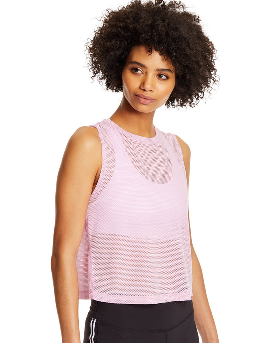 Champion Womens Cropped Mesh Tank, L, Ice Cake