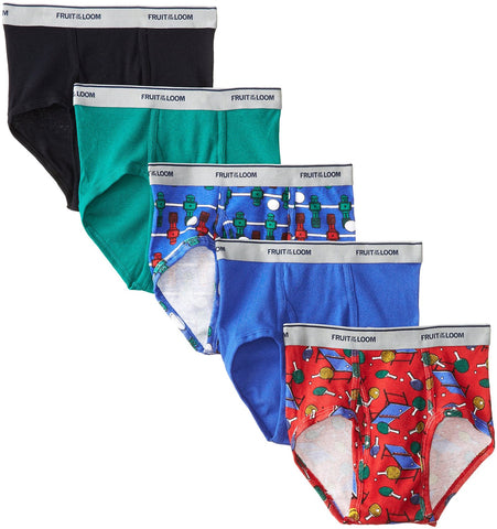 Fruit of the Loom Boys` 5pk Print/Solid Fashion Brief
