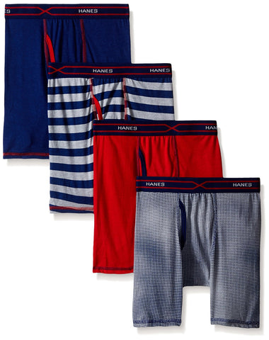 Hanes Boys` X-Temp 4-Pack Long Leg Boxer Briefs with Comfort Flex Waistband