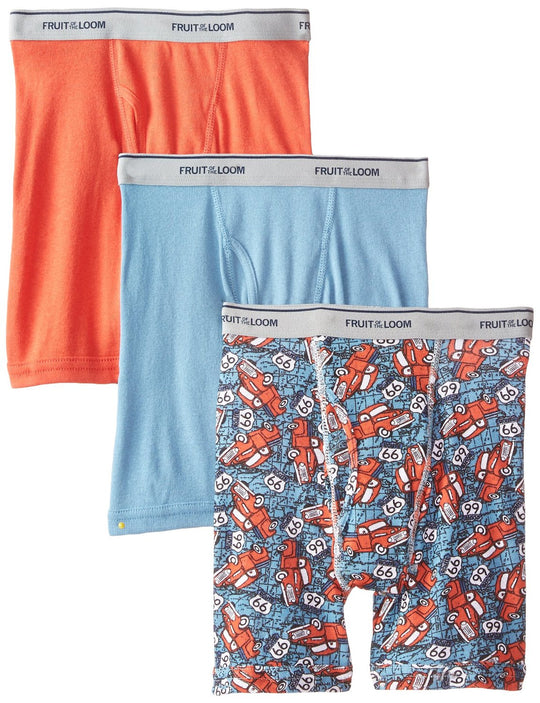 Fruit of the Loom Boys` 3-Pack Print And Solid Boxer Brief